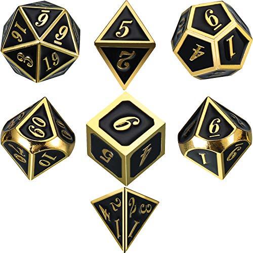 Zinklegierung Metall Polyedrische 7-Die Würfel Set für Dungeons and Dragons RPG Würfel Gaming D&D Mathematik Lehre, d20, d12, 2 Stück d10 (00-90 und 0-9), d8, d6 und d4 (Shiny Gold und Schwarz)