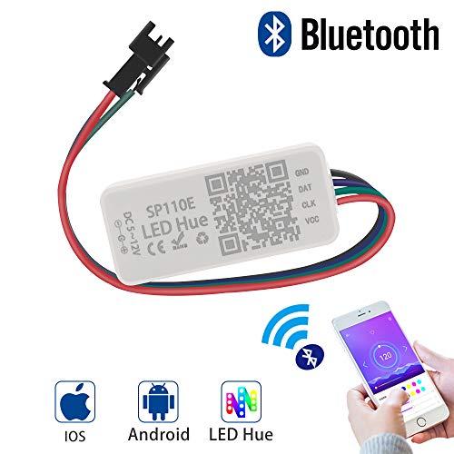 GEEKHOM Regolatore LED SP110E Controller WS2812B WS2811 SK6812RGB SK6812RGBW Bluetooth IOS / Android App 1024 pixel DC 5V-12V supportare tutti i LED Strip/modulo luce/pannello / stringa