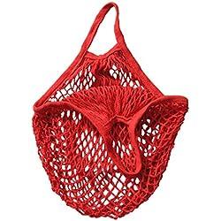 RETON 15 Pulgadas Bolso reutilizable tejido neto del totalizador de las compras de la secuencia del algodón orgánico de la bolsa de malla - Rojo