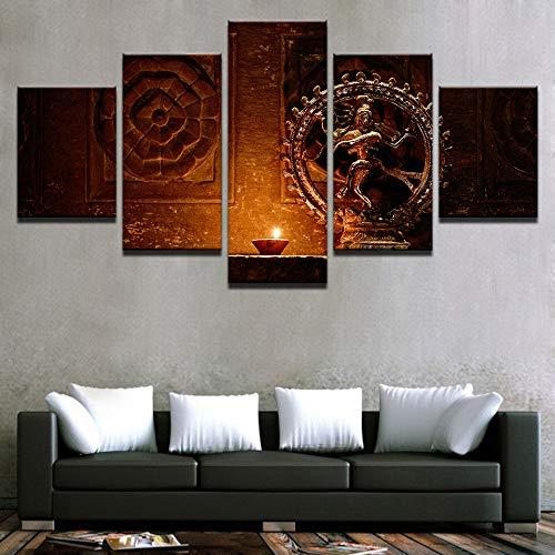 alicefen Wandkunst Leinwand Gemälde Hd Drucke 5 Stücke Shiva Nataraja Statue Poster Indien Gott Vintage Bilder Wohnzimmer Dekor Rahmen Wohnkultur Wohnzimmer Leinwanddrucke-Frame