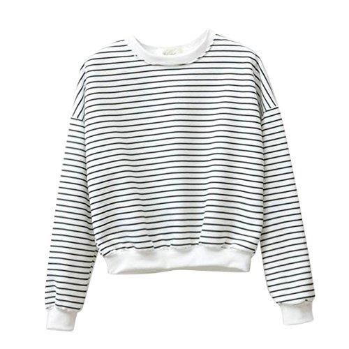 Gestreifter Strick-pullover (ROPALIA Frauen Gestreifter Rundkragen Oberseiten Lange Ärmel lose Casual Pullover)