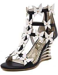 MNII Lazo De Las Mujeres Las Flores Hermosas Abren Las Sandalias Del Dedo Del Pie Los Zapatos Elegantes De Los...