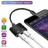 3,5mm USB de type C adaptateur, Lively Life 2en 1type C adaptateur Splitter prise casque USB C vers adaptateur 3.5mm pour Huawei Mate 10Pro/HTC U11/U ultra/le 2/le Pro 3/Xiaomi Mi 6/Mix 2/Note 3 Noir