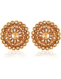 AccessHer Indian Traditional Antique Rajwadi Engagement Wear American Diamond Stud Earrings