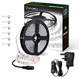 Onforu 16.4ft 5M LED Strip Lights Kits, 12V LED Ribbon with Power Adapter and Switch, Daylight White 6000K, 300 SMD 2835 LEDs Non-Waterproof LED Light Strips for Room, Kitchen Lighting, Party Decor