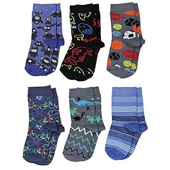 Baby Socken Jungen Baumwolle Mädchen Söckchen mit Muster Kindersocken im 6er Pack Bunt Sortiert, Farbe: Junge 2, Größe: 27-30