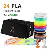Pxmalion PLA 3D Pen Filament Refills, 960 Feet, 24 Colors, 40 Feet Each, 1.75mm PLA Filament Pack, Net Weight 980g, Includes Stencils eBook
