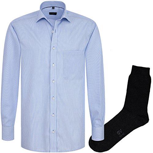 ETERNA Herrenhemd Comfort Fit, hellblau gestreift, Cotelé + 1 Paar hochwertige Socken, Bundle Hellblau