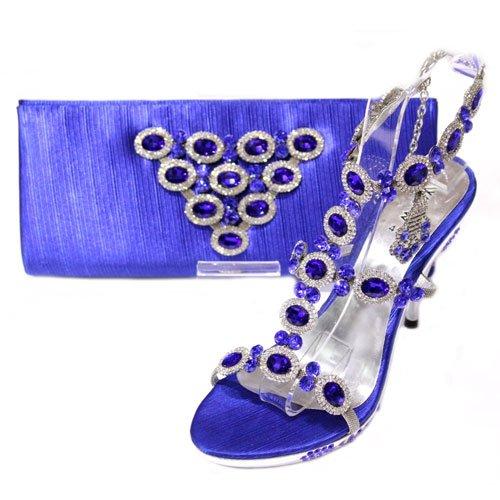 W & W Femme Cristal Diamant Chaussures & sac assorti Taille 3-8 (or, argent, bleu) perles & NOVA Bleu - bleu