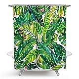 Beydodo Anti-Schimmel Duschvorhang 150x180 Grün Pflanze 3D Vintage Duschvorhang