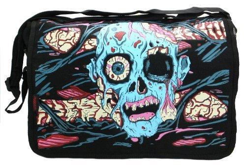 Bga3564 Jawbreaker Black With Blue Melting Skull Messenger Backpack by Jawbreaker