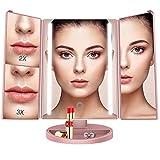 BESTOPE Schminkspiegel 1x/2x/3x Vergrößerung mit 24 Leuchtmittel Kosmetikspiegel Beleuchtet Makeup Spiegel Touchscreen, Batterie und USB-Netzteil, 180 °Einstellbare Aufsatz-Tischspiegel (Rosa Gold)