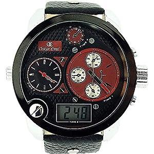 Oskar Emil Spiral Red – Reloj para Hombres, Correa de Cuero Color Negro