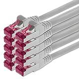 5m - blanco - 10 piezas - CAT6a CAT 6a Ethernet LAN cable de red - SET 10 GB/s cable patch CAT6 S-FTP Doble blindado PIMF 500MHz libre de halógenos compatible con CAT5 CAT6a CAT7 CAT8