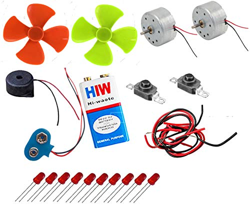 PGSA2Z Science Project Material Kit - Set Dc Toy Motors, Four Blade Fans, 9v Battery , Battery Snap/Cap, Red LEDs, Push to On Switch, Piezo Buzzer, Connecting Wires .
