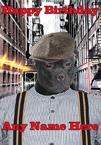 tiv: Staffie Staffordshire Bullterrier mit 1920er-Jahre-Gangster og37, A5, personalisierbar, von US Gifts for All 2016 von Derbyshire UK ()