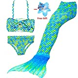 Photo de DAXIANG 3 Pièces Maillot de Bain Princesse Queue de Sirène Mermaid Bikini(Il y a la Boucle au Bas de la Queue,Pouvez Ouvrir pour Marcher ou Fermer pour Ajouter Monopalme) par DAXIANG