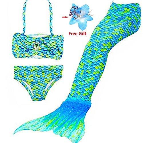 DAXIANG 3 Pièces Maillot de Bain Princesse Queue de Sirène Mermaid Bikini(Il y a la boucle au bas de la queue,pouvez ouvrir pour marcher ou fermer pour ajouter monopalme)