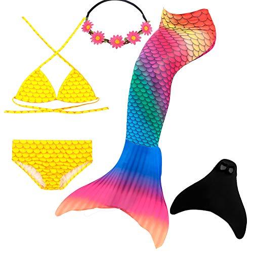 UrbanDesign Meerjungfrau Flosse Zum Schwimmen Flossen Für Mädchen Kinder Mit Bikini, 11-12 Jahre, Meerjungfrau der Tropen