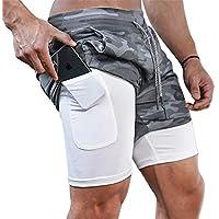 Superora Pantalones Cortos Hombre Deporte Chándal Deportivos Compresión Interna con Bolsillo Incorporado y Bolsillo Transpiración de Secado Rápido