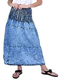 FRANCLO Women's Full Length Denim Skirt (Best Fit 28-34 Waist)