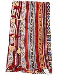 CADANIA Grand châle géométrique Pompon Bohême Hijab Pashmina Élégant écran  Solaire ... 1a626a2c56a
