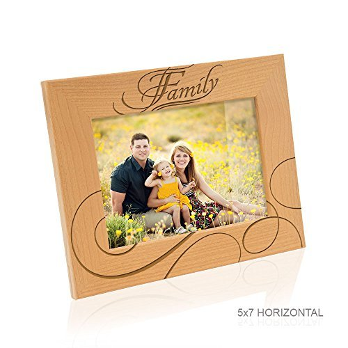 Kate Posh-Familie und family-forever Freunde-Holz Bilderrahmen, holz, Natural Real Wood, 5x7-Horizontal - Family (Familie Bilderrahmen 5x7)