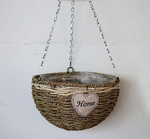 daorier Stroh Hängekorb Blumen Pflanzen Vase Home Dekoration