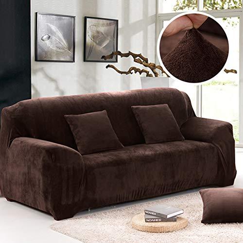 Coromose Sofa Cover Non-Slip Thicken Plush Elastic All-Inclusive Sofa Protector for Autumn Winter Coffee Single seat 90-140cm