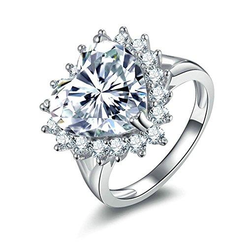 Anazoz fedine nuziali argento 12mm bianco cubic zirconia incisione gratuita anelli argento bigiotteria misura 23,5