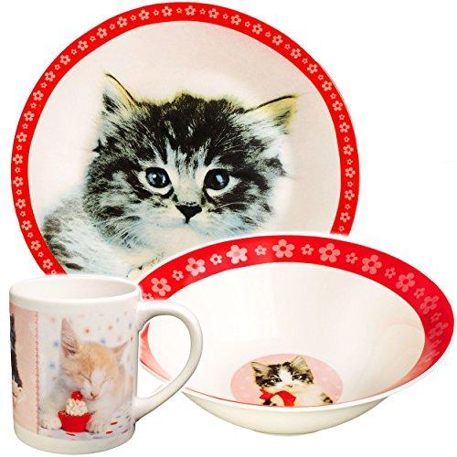 Unbekannt 3 TLG. Geschirrset -  süße Katzen & Kätzchen - Rachaelhale  - Porzellan / Keramik - Trinktasse + Teller + Müslischale / Suppenschüssel - Kindergeschirr - Fr..