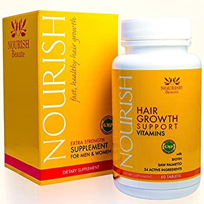 Nourish Beaute - Nourish Hair Growth Vitamins with Biotin and DHT Blockers- Guaranteed Improvements, Less Loss and Better Skin and Nails from Nourish Beaute