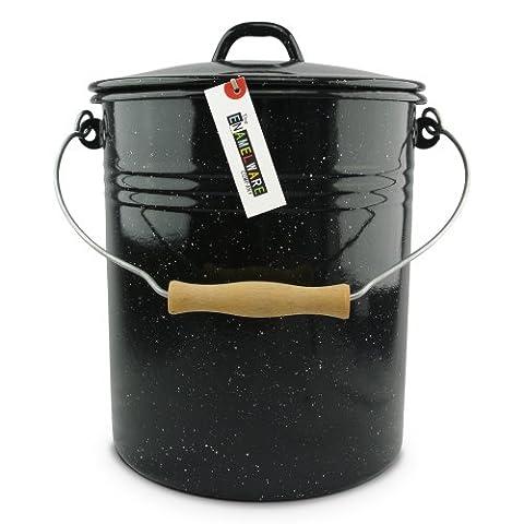 Emaille Eimer 12 Liter mit Deckel ~ The Enamelware Company ~ Schwarz gesprenkelt