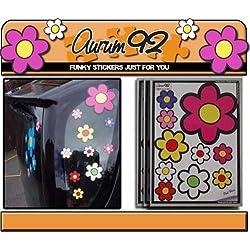 Aurum92 Pegatinas para Coche con diseño de Flores, 30 Unidades