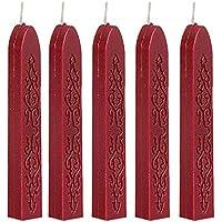 5 Piezas de Lacres de Manuscrito Palillos de Cera del Sello Cera del Estampilla Para el Franqueo Sobre Manuscrito (rojo)