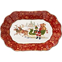 Villeroy & Boch Toy's Fantasy Fuente Grande Ovalada Trineo de Santa, Porcelana Premium, Rojo