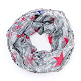 MANUMAR Loop-Schal für Damen | Hals-Tuch in grau mit Sterne Motiv als perfektes Herbst Winter Accessoire | Schlauchschal | Damen-Schal | Rundschal | Geschenkidee für Frauen und Mädchen