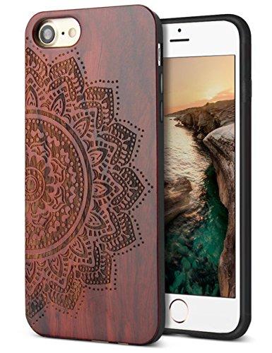 YFWOOD Holzetui Ersatz für iPhone 7 iPhone 8 Fall Handgefertigte Holzmuster Carving Hard Bumper Skin Hybrid Schutzhülle Hülle - Hard Skin Iphone Fall