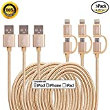 Miger 3 PACK 3,3 ft/1 Meter 2 in 1 Nylon geflochten 8 Pin Lightning & Micro USB Ladekabel Kabel für iPhone/iPad/iPod, Samsung und andere Android Geräte
