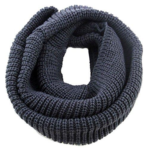 Bufanda Unisex para Invierno, TININNA Cálida Bufanda de Abrigo de Cuello de Punto para Mujer y Hombre-Gris oscuro