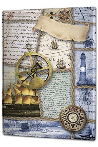 Blechschild Maritime Deko Sextant Segelschiff Kompass Metall Schild 20X30 cm