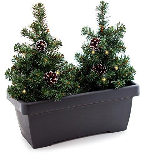 Brubaker Blumenkasten mit künstlichen Weihnachtsbäumen, Balkon-Weihnachtsbeleuchtung 2X Tannenbaum, 8X Tannenzapfen, LED Lichterkette, Batteriebetrieben