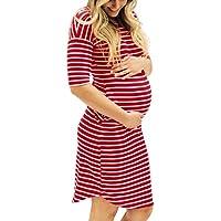 Cinnamou Vestidos para mujeres, Vestido de maternidad de enfermería de manga corta de la raya del o-cuello de los embarazos de las mujeres de la manera Largo Camiseta Tops