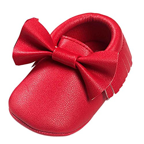 Babyschuhe Longra Baby-Krippe Mädchen Quasten Bowknot Schuhe Sneakers Casual rutschfeste Schuhe Lauflernschuhe(0 ~ 18 Monate) Red