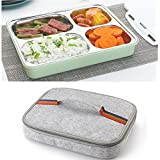 LKITZZ Large Green With Bag: High Quality Stainless Steel Food Container Leak-Proof Lunch Bento Boxes Eco-Friendly Microwave Adult Children Bento Box