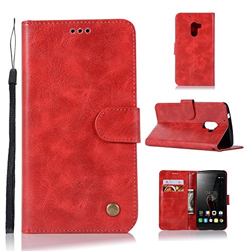 kelman Hülle für Lenovo A7010 / Lenovo Vibe K4 Note Hülle Schutzhülle PU Leder + Soft Silikon TPU Innere Schale Brieftasche Flip Handyhülle - [JX05/Rot]