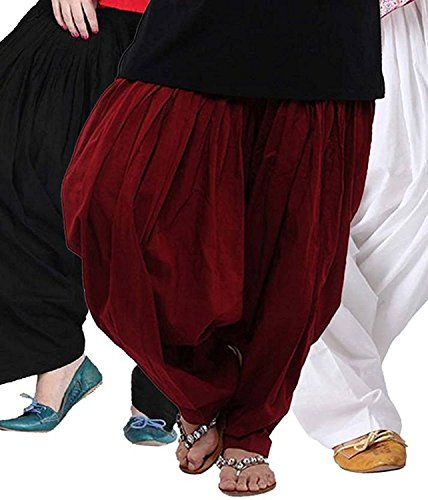 K\'s Creations Women\'s Cotton Semi Patiala Salwar Combo (Black, Maroon and White_Free Size)