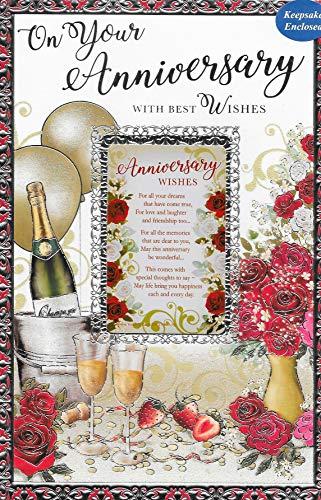 """Karte zum Hochzeitstag, englische Aufschrift:""""On Your Anniversary"""" (englischsprachig), 22,9 x 15,2 cm"""