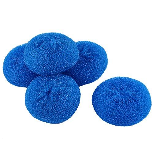 sourcingmap-plastic-dish-pot-pan-mesh-scouring-washing-cleaning-scrubber-pad-5pcs-blue
