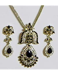 DollsofIndia Black And White Stone Studded Pendant With Chain And Earrings - Stone And Metal (EQ11-mod) - Black